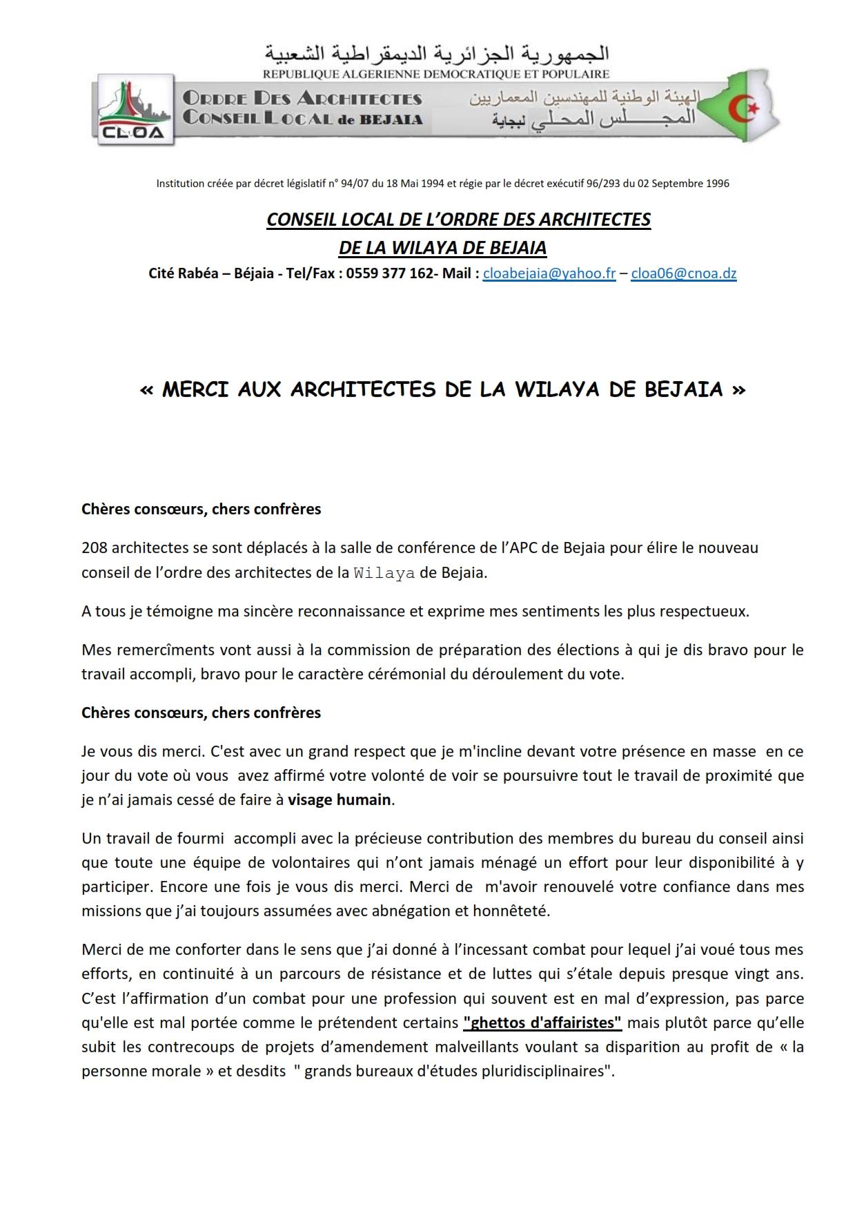 Liste Ordre Des Architectes conseil local de l'ordre des architectes de béjaia
